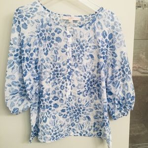 LOFT Baby Blue & White Leopard Print Sheer Blouse